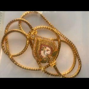 Genuine Ruby emerald CZ peacock pendant chain